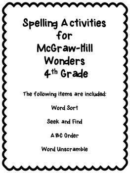 Wonders Unit 4 Week 1 Spelling Review