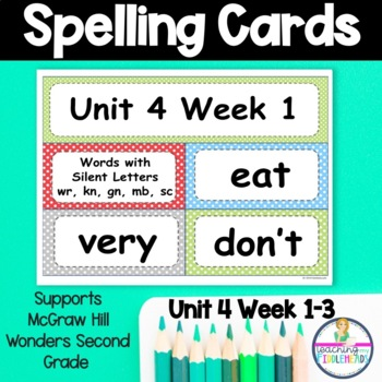 Wonders Unit 4 Weeks 1-5 Spelling Words Second Grade