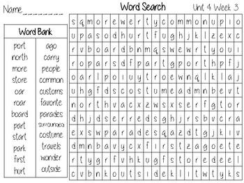 Wonders Unit 4 Word Search Grade 2