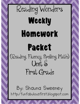 Unit 5 First Grade Homework Packet- McGraw Hill Reading Wonders
