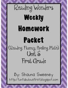 Unit 5 First Grade Homework Packet- McGraw Hill Reading Wonders