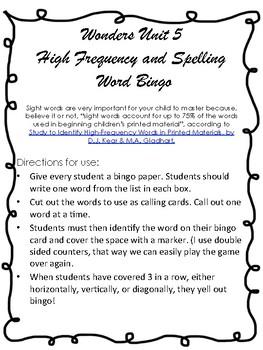 Wonders Unit 5 Spelling and Sight Word Bingo