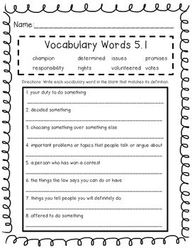 Wonders Unit 5 Vocabulary Tests