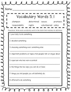 Wonders Unit 5 Vocabulary Tests