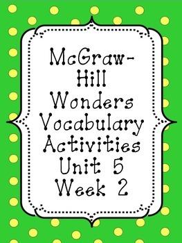 Wonders Unit 5, Week 2 Vocabulary Set