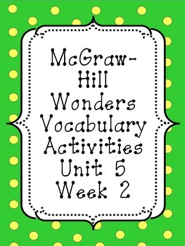 Wonders Unit 5, Week 2 Vocabulary Set