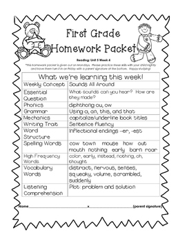 It's just a graphic of Old Fashioned First Grade Homework Packets Printable