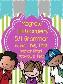 1st Grade Wonders Unit 5 Week 4 Grammar Chart, Activity, a