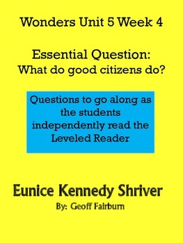 Wonders Unit 5 Week 4 Leveled Reader Questions