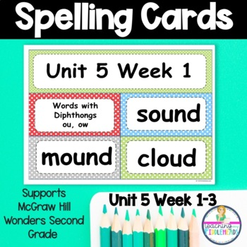 Wonders Unit 5 Weeks 1-5 Spelling Words Second Grade