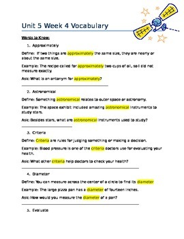 Wonders 5th grade Unit 5 Wk 4 Vocabulary