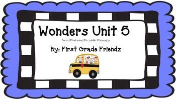 Wonders Unit 5 Word Find Using Decodable Passage