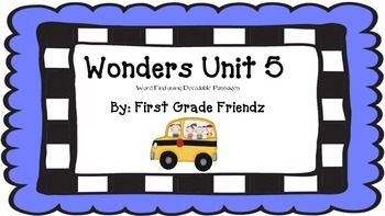 Wonders Unit 5 Word Find Using Decodable Passage