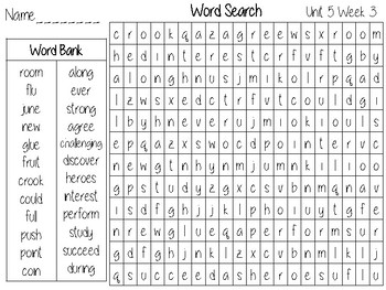 Wonders Unit 5 Word Search Grade 2