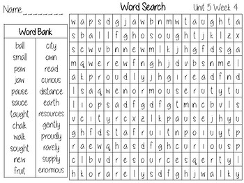 Wonders Unit 5 Word Search Grade 2