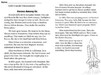 Wonders Unit 5 week 3 assessment