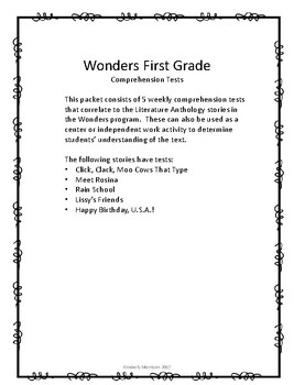Wonders Unit 6 Comprehension Tests- First Grade