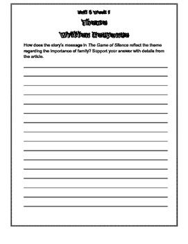 Wonders Unit 6, Grade 4 Graphic Organizers & Written Responses
