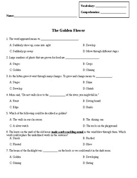 Wonders Unit 6 Week 1 Vocabulary and Comprehension Test (The Golden Flower)