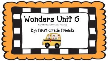 Wonders Unit 6 Word Find Using Decodable Passage