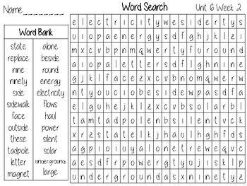 Wonders Unit 6 Word Search Grade 2