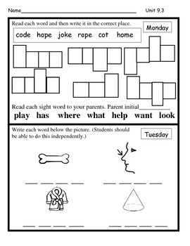 Wonders Unit 9 Week 3 Reading/Math Homework (Bread Comeds to Life)