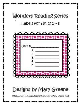 Wonders Unit Labels for All Grades