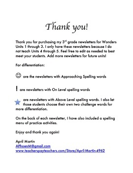 Wonders Units 1, 2, and 3 Newsletters and Spelling Practice for 3rd grade