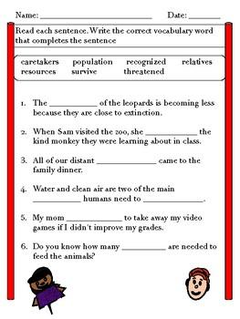 Wonders Vocabulary  - 3rd grade Unit 2 Week 4