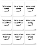3rd Grade Wonders Vocabulary Quiz Cards Unit 1.1