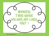 Wonders Vocabulary Cards- Third Grade Unit 1