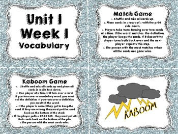 Wonders Vocabulary Cards and Games Unit 1 Bundle