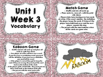 Wonders Vocabulary Cards and Games Unit 1 Week 3
