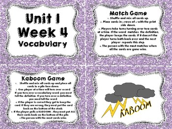 Wonders Vocabulary Cards and Games Unit 1 Week 4