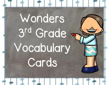 Wonders Vocabulary Cards for Third Grade