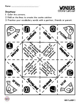 Wonders Vocabulary Cootie Catchers 2nd Grade