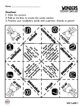 Wonders Vocabulary Cootie Catchers 3rd Grade