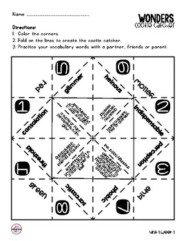 Wonders Vocabulary Cootie Catchers 6th Grade