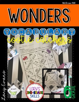 Wonders Vocabulary Cootie Catchers 6th Grade