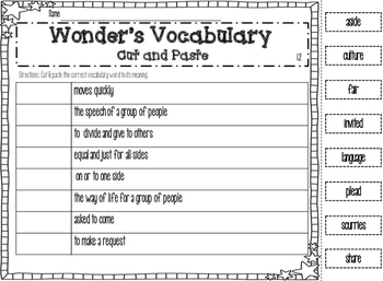 Wonders Vocabulary Cut and Paste Units 1-6