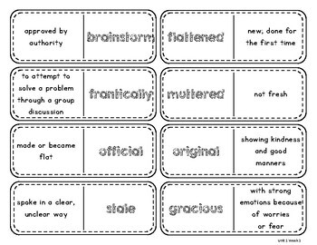 Wonders Vocabulary Dominos 4th Grade