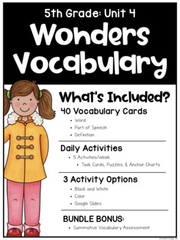 Wonders Vocabulary: Fifth Grade Unit 4 BUNDLE