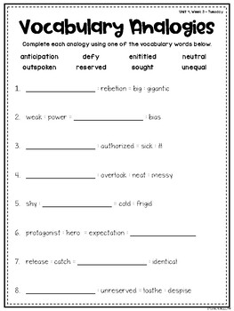Wonders Vocabulary: Fifth Grade Unit 4, Week 3