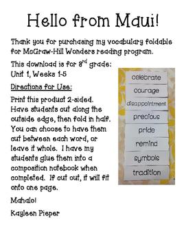 Wonders Vocabulary Foldable Unit 1