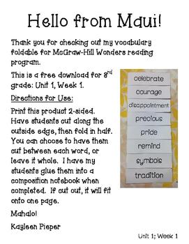 Wonders Vocabulary Foldable Unit 1, Week 1