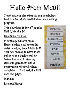 Wonders Vocabulary Foldable Unit 5