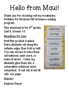 Wonders Vocabulary Foldable Unit 6