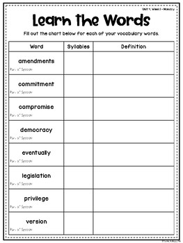 Wonders Vocabulary: Fourth Grade Unit 4, Week 1