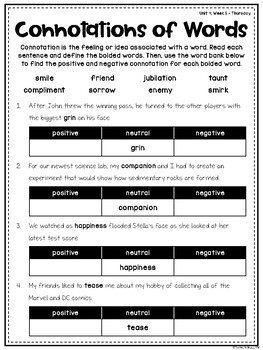 Wonders Vocabulary: Fourth Grade Unit 4, Week 5