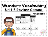 Wonders Vocabulary: Fourth Grade Unit 5 Review Games